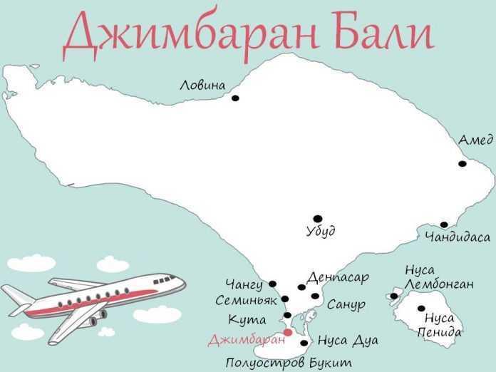 Джимбаран на карте Бали